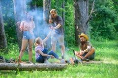 加入夏天野餐 见面在篝火附近的朋友停留和准备烤了香肠快餐自然背景 库存照片