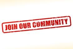 加入我们的缓冲的社区文本 免版税库存图片