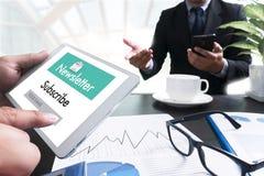 加入记数器时事通讯对更新信息并且订阅Reg 免版税库存照片