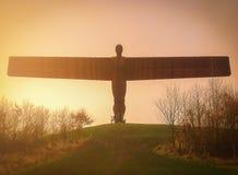 加兹海得,英国- 2013年1月05日 北部的天使在太阳的 免版税库存照片