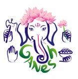 加内什和莲花 印度教 免版税库存照片