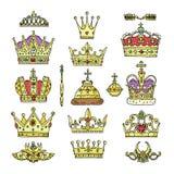 加冠国王女王/王后和公主皇太子当局集合的例证标志的传染媒介金黄皇家首饰标志 免版税图库摄影