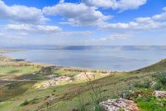 加利利海的看法从登上阿尔贝尔的 库存图片