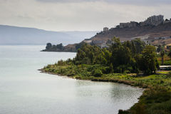 加利利湖视图 库存图片