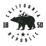 加利福尼亚与熊和山的难看的东西印刷品 葡萄酒 图库摄影
