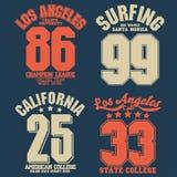 加利福尼亚体育穿戴T恤杉印刷术设计 向量 库存例证