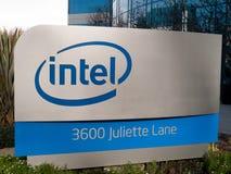 加利福尼亚克拉拉・ Intel徽标圣诞老人 库存照片
