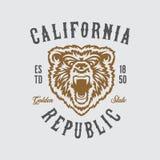 加利福尼亚共和国与北美灰熊头的T恤杉设计 传染媒介葡萄酒例证 向量例证