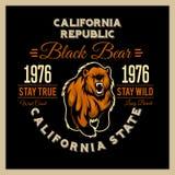 加利福尼亚共和国与北美灰熊的葡萄酒印刷术 向量例证