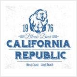 加利福尼亚共和国与北美灰熊的葡萄酒印刷术 库存例证