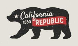 加利福尼亚共和国熊 加利福尼亚海报火轮葡萄酒 T恤杉的,印刷术印刷品 减速火箭的样式 也corel凹道例证向量 向量例证