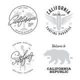 加利福尼亚关系了T恤杉葡萄酒被设置的样式图表 也corel凹道例证向量 皇族释放例证