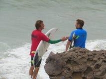 加利福尼亚冲浪的竞争点Mugu 2018年 免版税库存图片