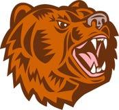 加利福尼亚北美灰熊顶头咆哮木刻 库存例证