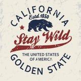 加利福尼亚印刷术印刷品,北美灰熊T恤杉 向量 皇族释放例证