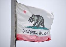加利福尼亚吹在风的状态旗子 免版税库存图片
