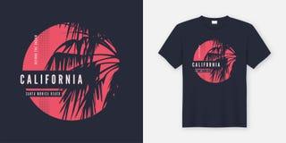 加利福尼亚圣塔蒙尼卡与棕榈树的T恤杉设计 向量例证