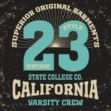 加利福尼亚学院时尚T恤杉的设计印刷品 库存照片