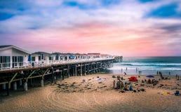 加利福尼亚日落码头 免版税库存照片