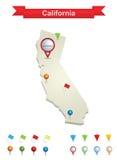 加利福尼亚映射 免版税库存照片