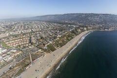 加利福尼亚海岸空中托兰斯海滩和兰乔帕洛斯Verdes 免版税库存照片