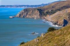 加利福尼亚海岸线在Tamalpais国家公园,马林县 免版税库存照片