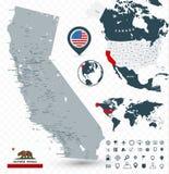 加利福尼亚物理地图 库存例证