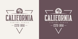 加利福尼亚状态构造了葡萄酒传染媒介T恤杉和服装des 向量例证