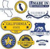 加利福尼亚状态的普通邮票和标志 图库摄影