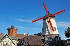加利福尼亚老solvang风车 库存图片