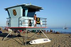 加利福尼亚:圣克鲁斯海滩救生员海洋 免版税库存图片