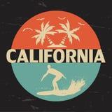加利福尼亚 衣物, T恤杉设计的印刷术  免版税库存图片