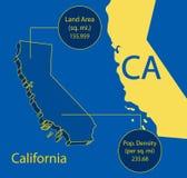 加利福尼亚3D向量映射信息图象 库存照片