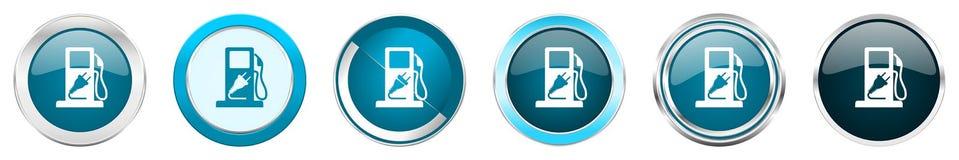 加剧在6个选择的银色金属镀铬物边界象,被设置在白色背景隔绝的网蓝色圆的按钮 皇族释放例证