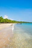 加勒比哥斯达黎加海洋水海滩天堂假期树雨林美好的绿松石水大海惊人的海滩海浪 免版税库存图片