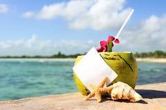 加勒比天堂海滩椰子鸡尾酒 库存照片