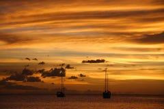 加勒比巡航金黄日落 免版税图库摄影