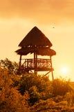 加勒比日落在玛雅里维埃拉 库存图片