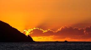 加勒比日落,圣Barts 免版税库存图片