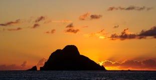 加勒比日落,圣Barts 库存图片