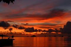 加勒比日落 库存图片