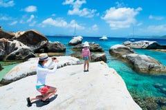 加勒比海岸的游人 免版税库存图片