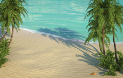 加勒比海滩概略的视图 库存照片