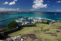 加勒比港口marigot马丁圣徒 库存照片