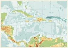 加勒比物理地图 减速火箭的颜色 没有文本 库存例证
