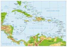 加勒比物理地图 没有深测术 库存例证