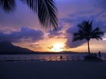 加勒比紫红色日落 免版税库存照片