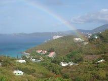 加勒比谷,早晨ranbow 免版税库存图片