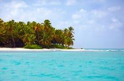 加勒比,绍纳岛,多米尼加共和国美丽的热带海岸  免版税库存图片