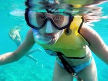 加勒比snorkeler 免版税库存照片